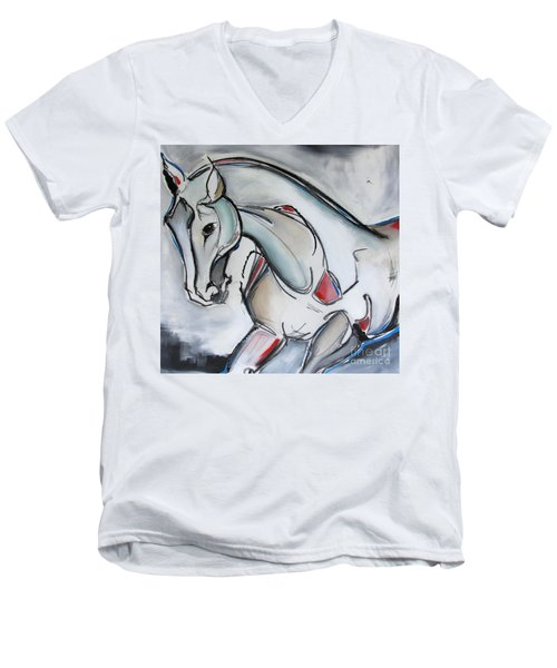 Men's V-Neck T-Shirt featuring the painting Running Wild by Nicole Gaitan
