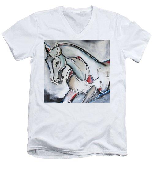 Running Wild Men's V-Neck T-Shirt by Nicole Gaitan