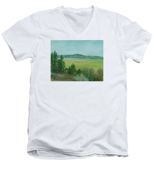 Rural Landscape Art Original Colorful Oil Painting Swan Lake Oregon  Men's V-Neck T-Shirt