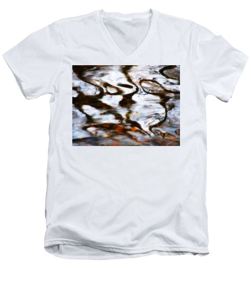 Rushing Water Men's V-Neck T-Shirt by Deborah  Crew-Johnson
