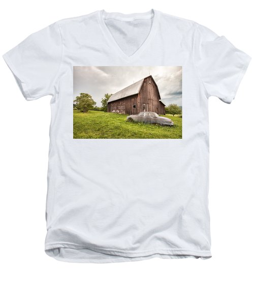 Men's V-Neck T-Shirt featuring the photograph Rustic Art - Old Car And Barn by Gary Heller