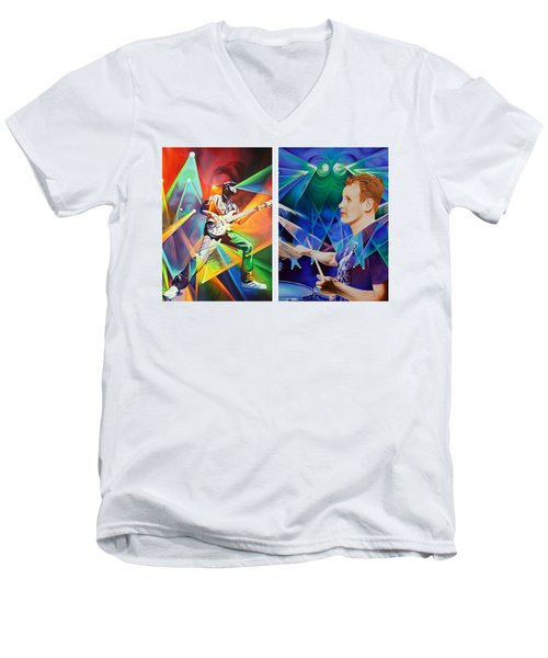 Men's V-Neck T-Shirt featuring the painting Ryan And Kris by Joshua Morton