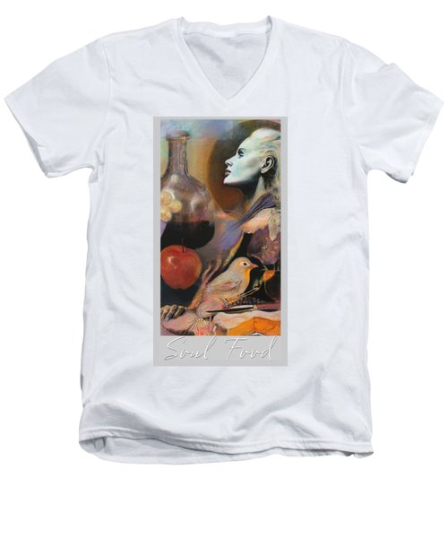 Men's V-Neck T-Shirt featuring the mixed media Soul Food - With Title And Light Border by Brooks Garten Hauschild