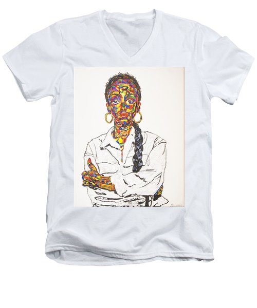 Men's V-Neck T-Shirt featuring the painting Abstract Sade  by Stormm Bradshaw