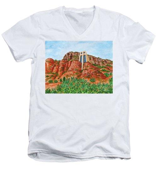 Sadona Church Men's V-Neck T-Shirt by Val Miller
