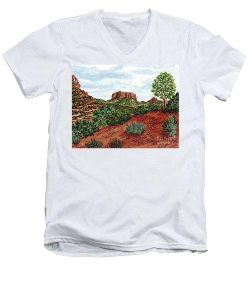 Sadona Two Mountains Men's V-Neck T-Shirt by Val Miller