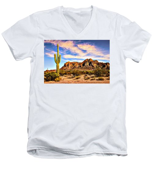 Saguaro Superstition Mountains Arizona Men's V-Neck T-Shirt by Bob and Nadine Johnston