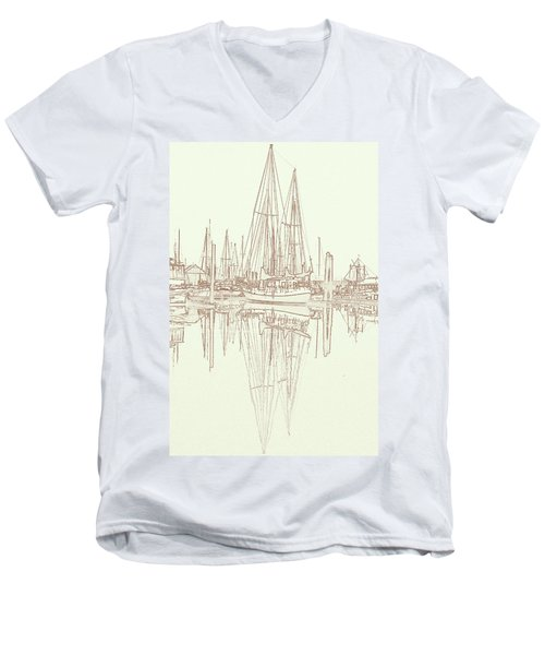 Men's V-Neck T-Shirt featuring the photograph Sailboat On Liberty Bay by Greg Reed