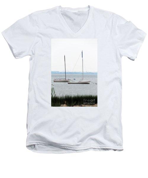 Sailboats In Battery Park Harbor Men's V-Neck T-Shirt by David Jackson