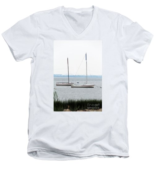 Sailboats In Battery Park Harbor Men's V-Neck T-Shirt