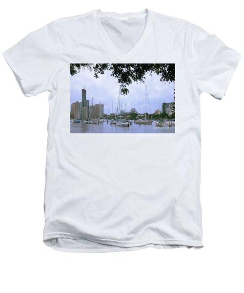 Sailboats In Brisbane Australia Men's V-Neck T-Shirt