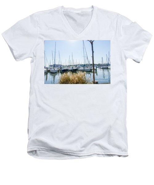 Sailboats On Back Creek Men's V-Neck T-Shirt
