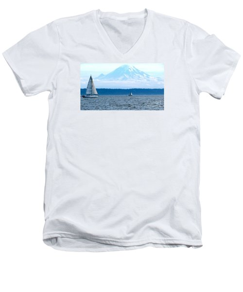 Sailing In Mt. Rainier's Shadow Men's V-Neck T-Shirt