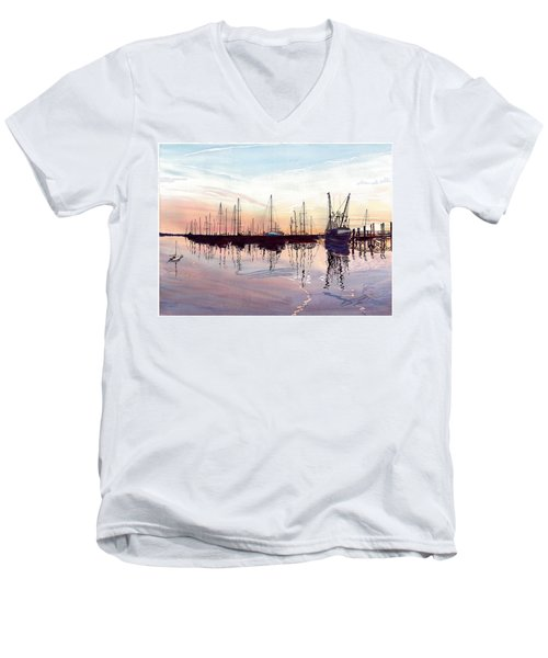 Men's V-Neck T-Shirt featuring the painting Saint Marys Marina   Shadows Light And Fire by Joel Deutsch