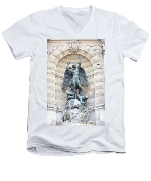 Saint Michael The Archangel In Paris Men's V-Neck T-Shirt