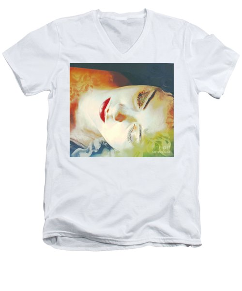 Men's V-Neck T-Shirt featuring the digital art Sally Sleeps by Kim Prowse