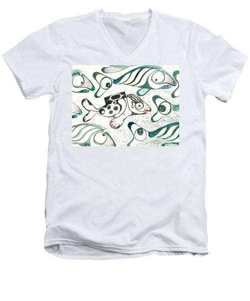 Salmon Boy The Swimmer Men's V-Neck T-Shirt by Melinda Dare Benfield