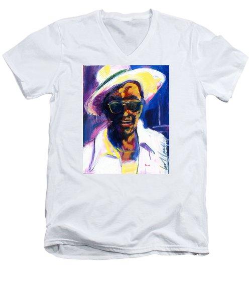 Sam Hopkins Men's V-Neck T-Shirt by Les Leffingwell