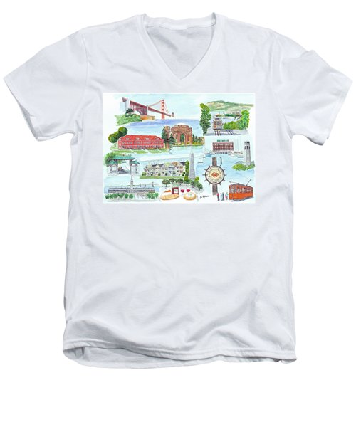 San Francisco Highlights Montage Men's V-Neck T-Shirt by Mike Robles