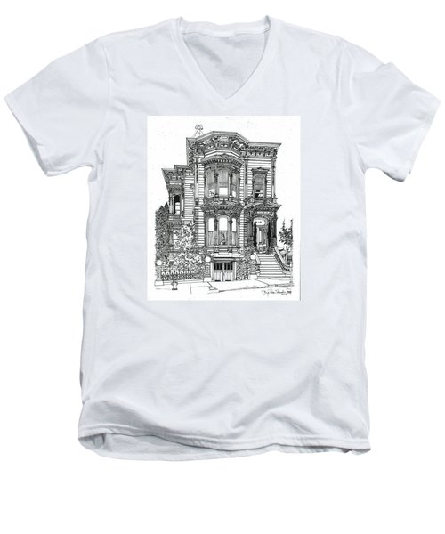 Men's V-Neck T-Shirt featuring the drawing San Francisco Victorian   by Ira Shander