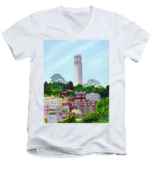San Francisco's Coit Tower Men's V-Neck T-Shirt by Mike Robles
