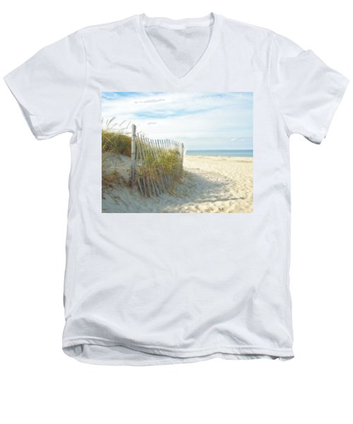 Sand Beach Ocean And Dunes Men's V-Neck T-Shirt by Brooke T Ryan