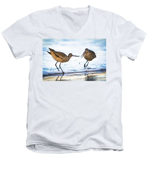 Men's V-Neck T-Shirt featuring the photograph Sanderlings Playing At The Beach by John Wadleigh