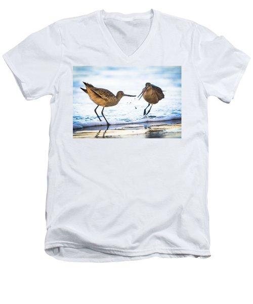 Sanderlings Playing At The Beach Men's V-Neck T-Shirt
