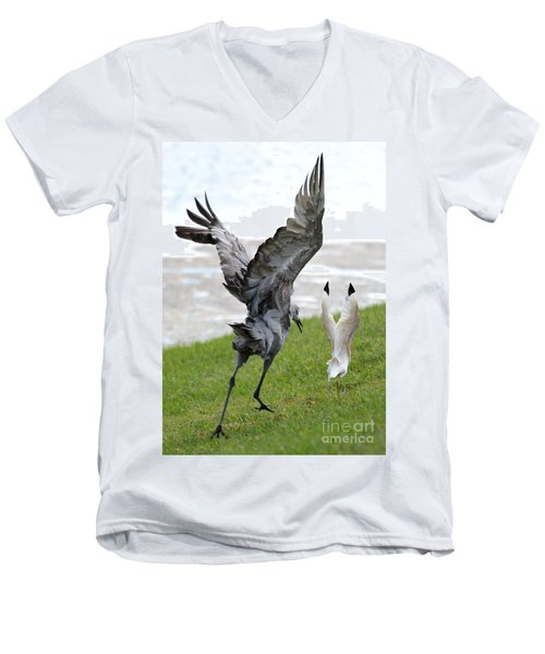 Sandhill Chasing Ibis Men's V-Neck T-Shirt by Carol Groenen
