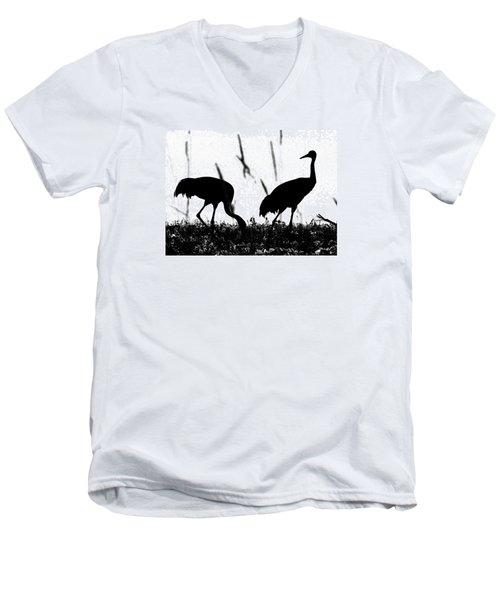 Sandhill Cranes In Silhouette Men's V-Neck T-Shirt