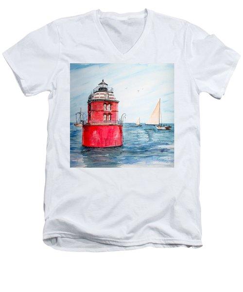 Sandy Point Lighthouse 2 Men's V-Neck T-Shirt