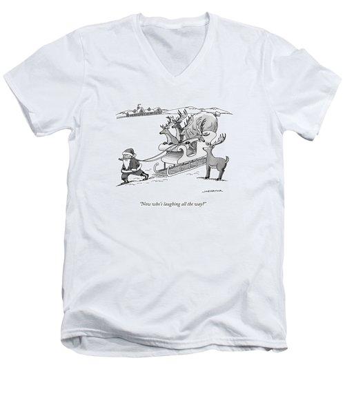 Santa Claus Pulls A Sleigh Full Of Reindeer Men's V-Neck T-Shirt