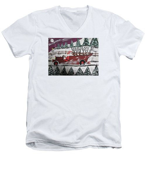 Men's V-Neck T-Shirt featuring the painting Santa's Truckload by Jeffrey Koss