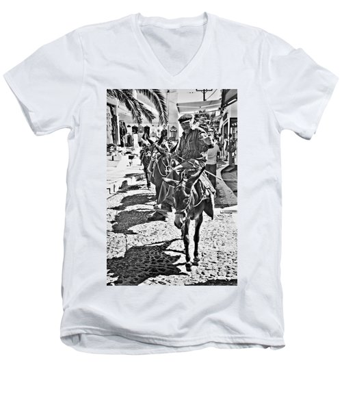 Santorini Donkey Train. Men's V-Neck T-Shirt by Meirion Matthias