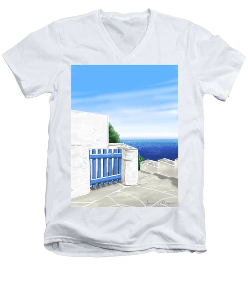 Santorini Men's V-Neck T-Shirt by Veronica Minozzi