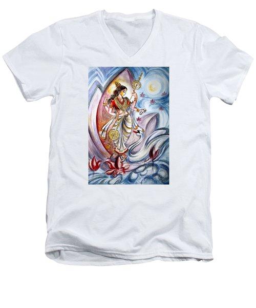 Saraswati Men's V-Neck T-Shirt by Harsh Malik