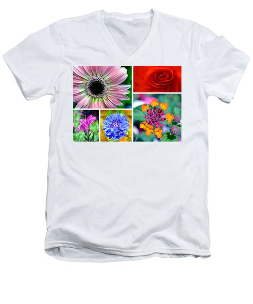 Men's V-Neck T-Shirt featuring the photograph Say It With Flowers by Deena Stoddard