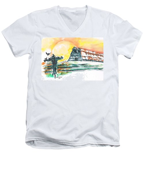 Scarecrow Welcomes The Morning Men's V-Neck T-Shirt by Seth Weaver