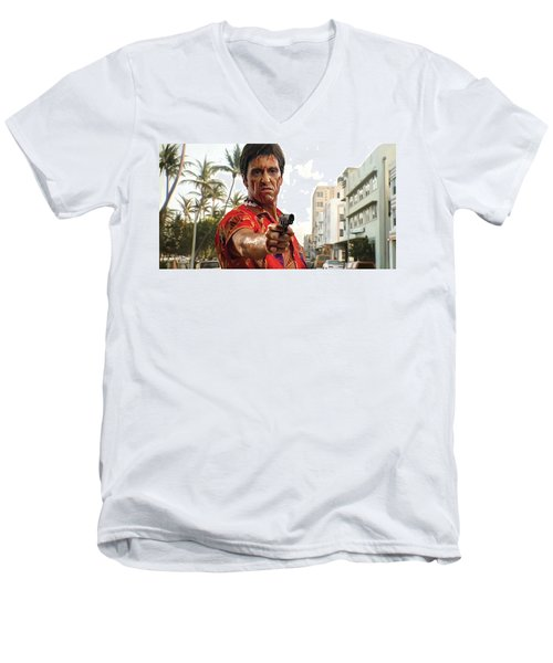 Men's V-Neck T-Shirt featuring the painting Scarface Artwork 2 by Sheraz A