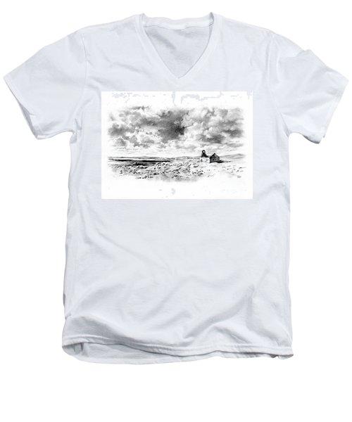 Men's V-Neck T-Shirt featuring the drawing Bleak Chapel by Paul Davenport