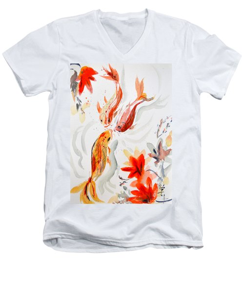 School Men's V-Neck T-Shirt by Beverley Harper Tinsley