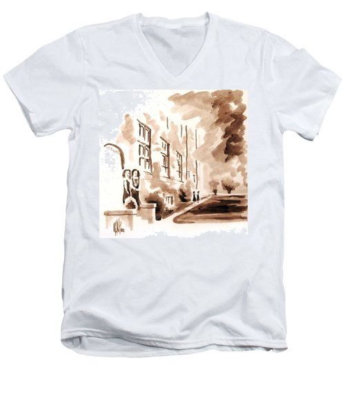 School Days At Ursuline Men's V-Neck T-Shirt by Kip DeVore