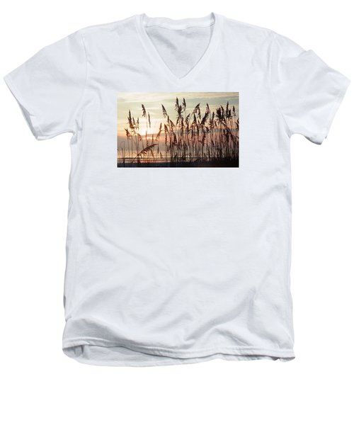 Men's V-Neck T-Shirt featuring the photograph Spectacular Sea Oats At Sunrise by Belinda Lee