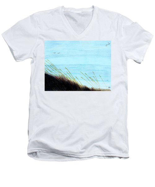 Men's V-Neck T-Shirt featuring the drawing Sea Oats In The Wind Drawing by D Hackett