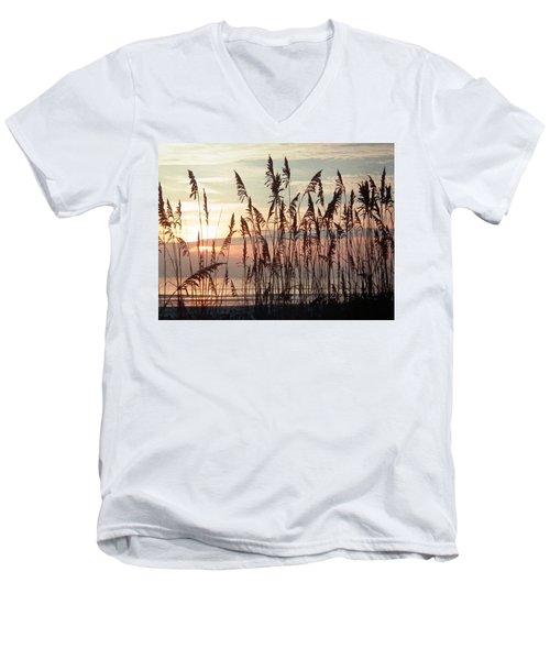 Fabulous Blue Sea Oats Sunrise Men's V-Neck T-Shirt by Belinda Lee