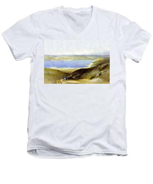 Sea Of Galilee Men's V-Neck T-Shirt by Munir Alawi