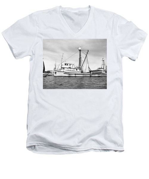 Purse Seiner Sea Queen Monterey Harbor California Fishing Boat Purse Seiner Men's V-Neck T-Shirt by California Views Mr Pat Hathaway Archives