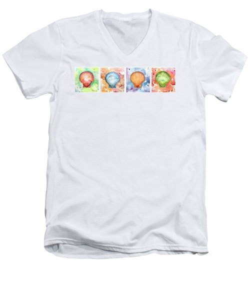 Sea Shells In Contrast Men's V-Neck T-Shirt