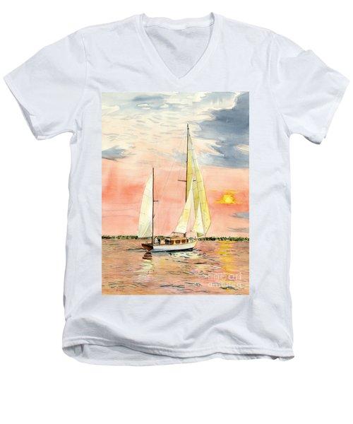 Sea Star Men's V-Neck T-Shirt by Melly Terpening