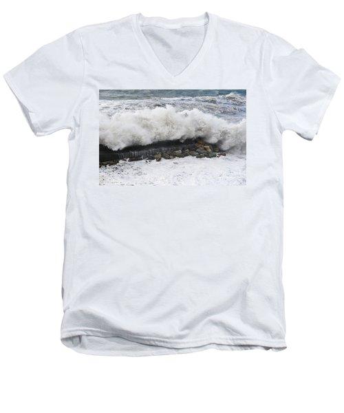Sea Storm  Men's V-Neck T-Shirt by Antonio Scarpi